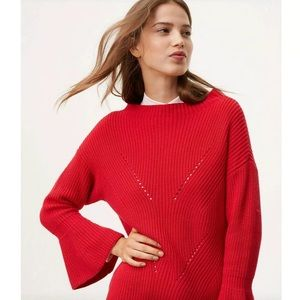 LOFT Red Chunky Knit Soft Sweater Bell Sleeve M